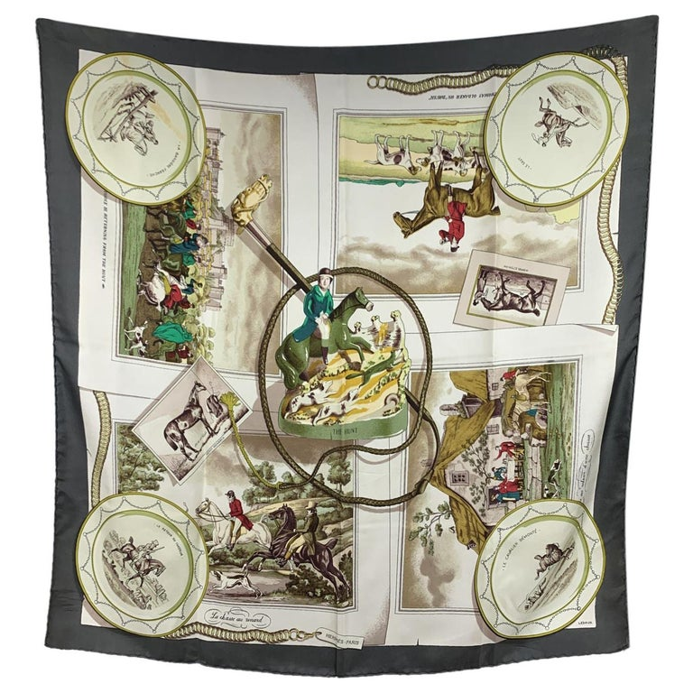 Hermes Vintage Rare Silk Scarf The Hunt 1963 Philippe Ledoux For Sale