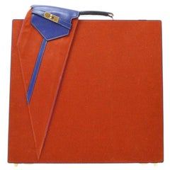 Hermes Vintage Red Blue Canvas Gold Men's Women's Travel Trunk Briefcase Bag