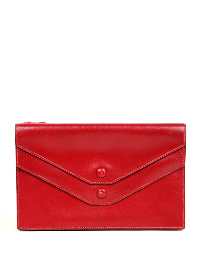 Hermes Vintage Red Box Leather Multisnap Wallet - AS IS In Good Condition For Sale In New York, NY