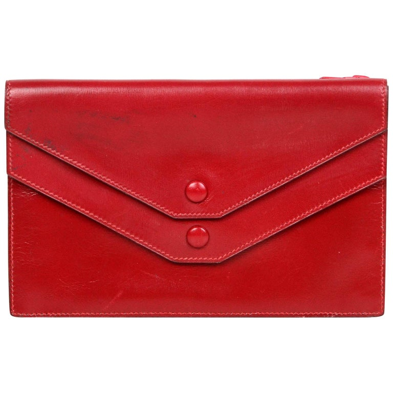 Hermes Vintage Red Box Leather Multisnap Wallet - AS IS For Sale