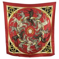 Hermes Vintage Red Silk Scarf Ascots 1831 De la Perriere 1969