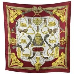Hermes Vintage Red Silk Scarf Etriers 1964 Francoise de la Perriere