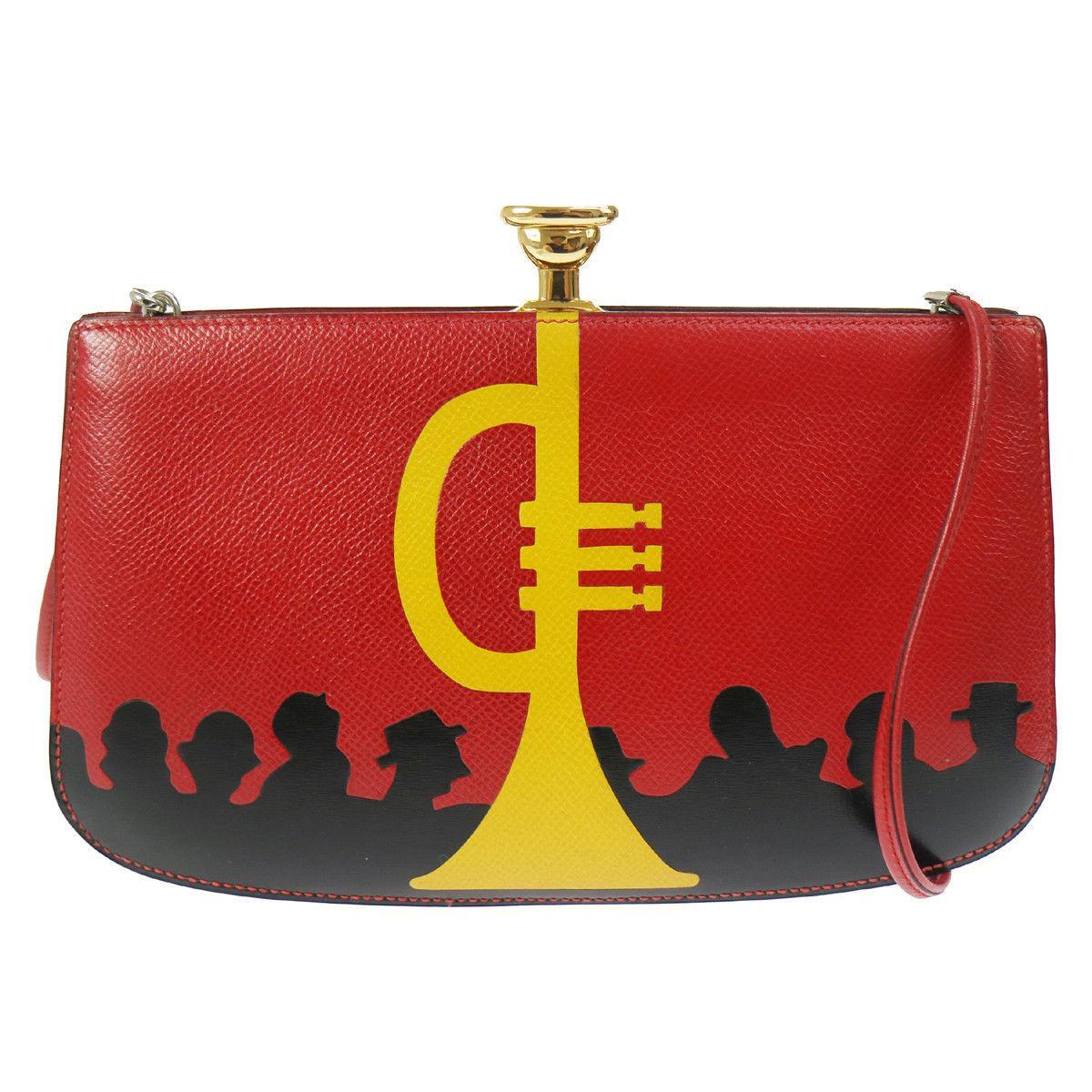 Hermes Vintage Red Yellow Leather Trumpet Gold Clutch Shoulder Bag