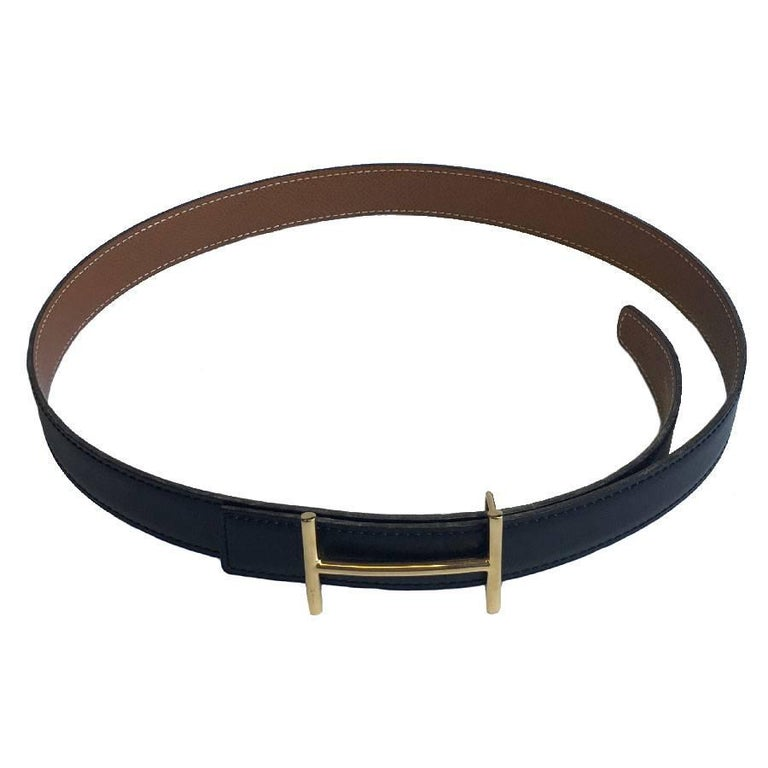 Women's HERMES Vintage Reversible Belt in Black Box Leather and Epsom Gold Leather 78 For Sale