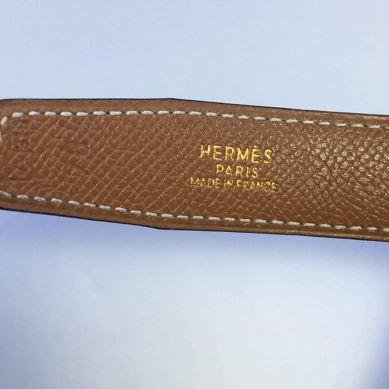 HERMES Vintage Reversible Belt in Black Box Leather and Epsom Gold Leather 78 For Sale 2
