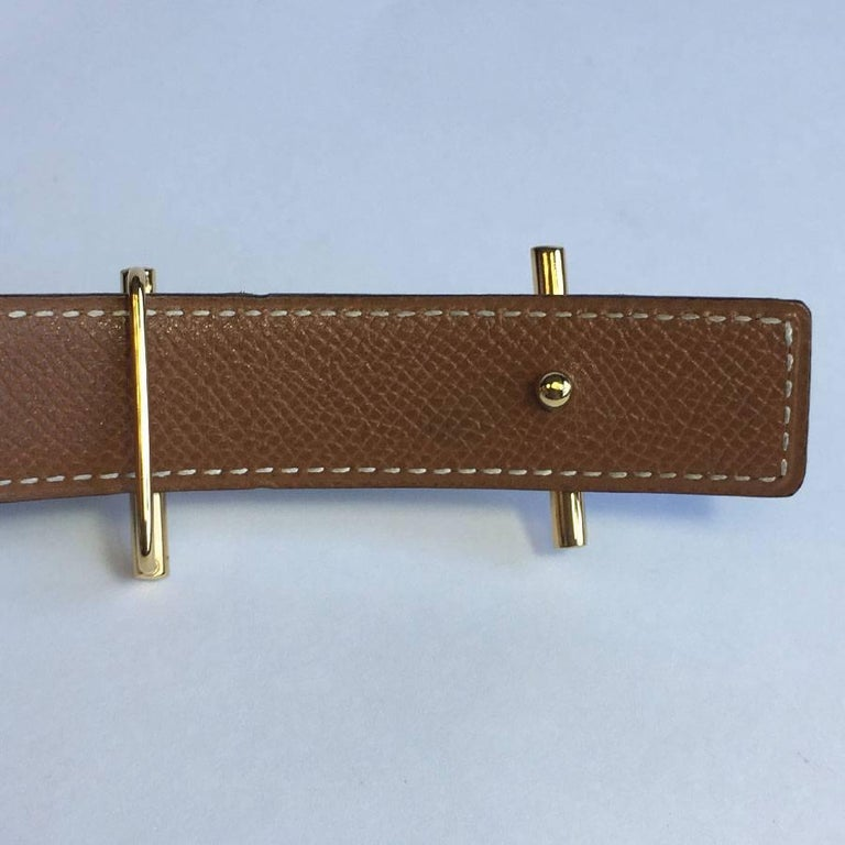 HERMES Vintage Reversible Belt in Black Box Leather and Epsom Gold Leather 78 For Sale 5
