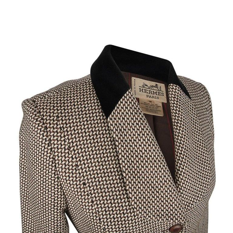 Hermes Vintage Riding Jacket / Blazer Check Leather Buttons Velvet Collar 36 / 4 For Sale 5