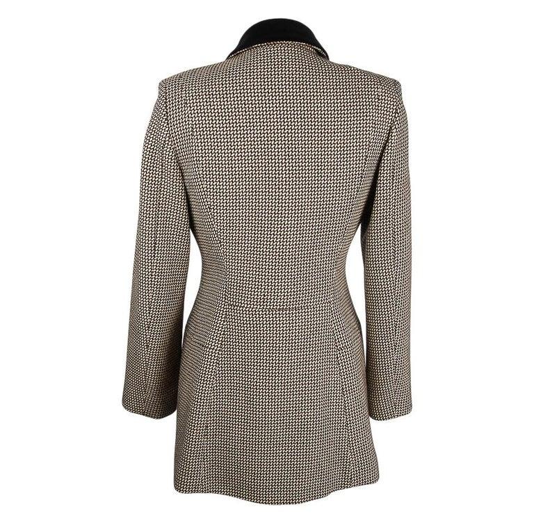 Hermes Vintage Riding Jacket / Blazer Check Leather Buttons Velvet Collar 36 / 4 For Sale 6