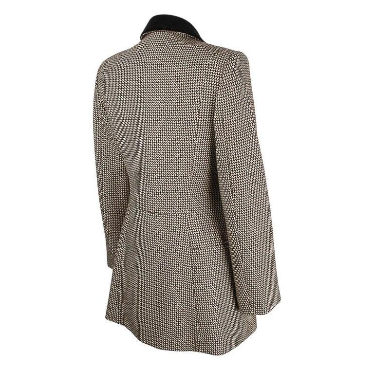 Hermes Vintage Riding Jacket / Blazer Check Leather Buttons Velvet Collar 36 / 4 For Sale 7