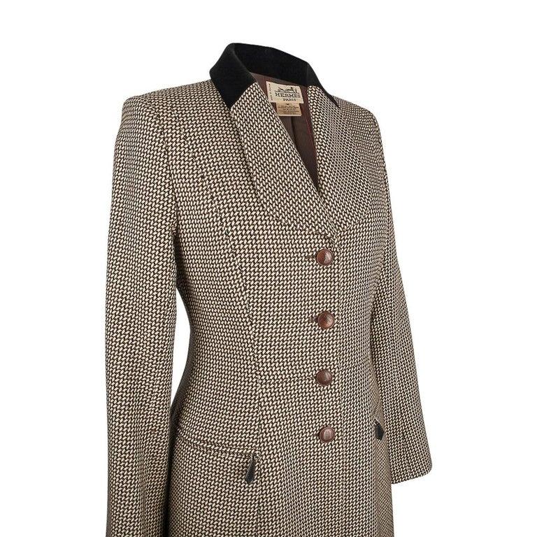 Black Hermes Vintage Riding Jacket / Blazer Check Leather Buttons Velvet Collar 36 / 4 For Sale