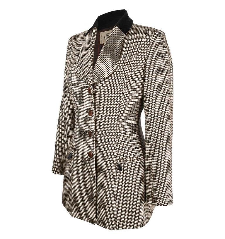 Hermes Vintage Riding Jacket / Blazer Check Leather Buttons Velvet Collar 36 / 4 For Sale 2