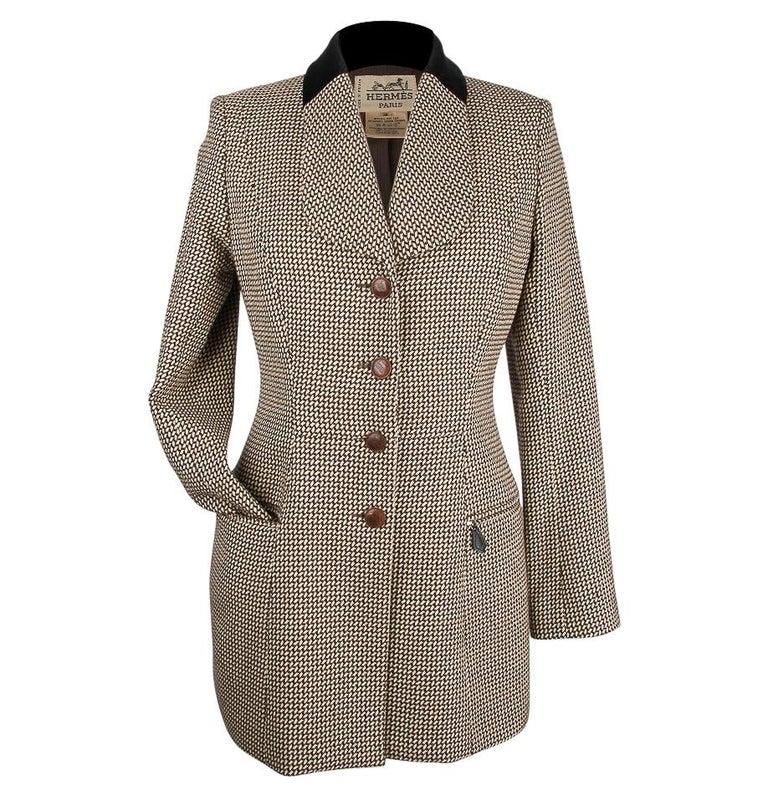 Hermes Vintage Riding Jacket / Blazer Check Leather Buttons Velvet Collar 36 / 4 For Sale 3