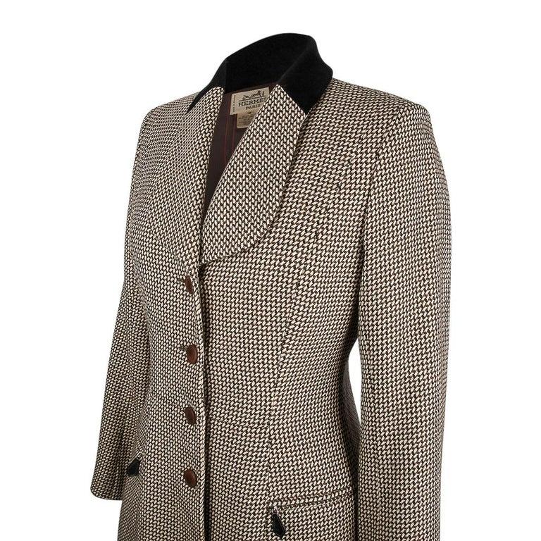 Hermes Vintage Riding Jacket / Blazer Check Leather Buttons Velvet Collar 36 / 4 For Sale 4
