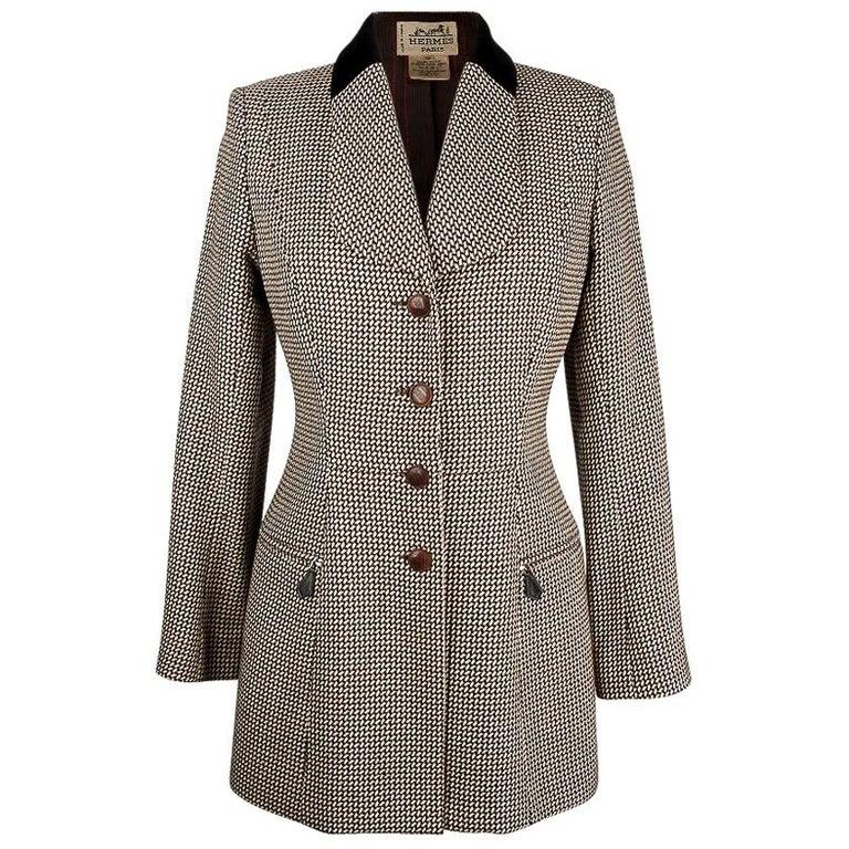 Hermes Vintage Riding Jacket / Blazer Check Leather Buttons Velvet Collar 36 / 4 For Sale