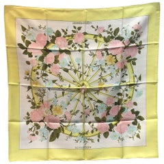 Hermes Vintage Romantique Silk Scarf in Yellow c1970s