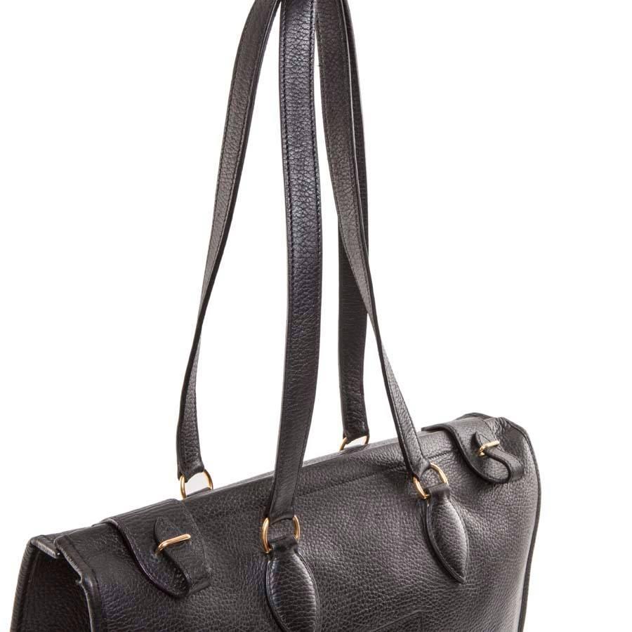 Hermes Sac Hermès Sac Vintage Dans Le Cuir Grainé Noir Jeu Des Achats En  Ligne JrOFmwby e3a36b1a00e