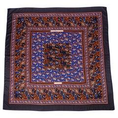 Hermes Vintage Scarf / Shawl 140 Chasse en Inde Blue Cashmere and Silk