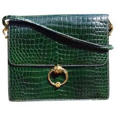 Hermès Vintage Sequana Bag Emerald Green Porosus Crocodile Ghw + Cards Holder
