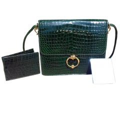 Hermès Vintage Sequana Bag Emerald Green Porosus Crocodile Ghw + Cards Holder