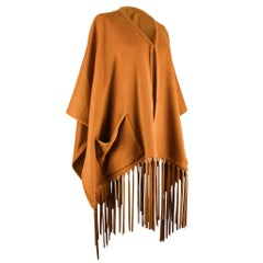 Hermes Vintage Shawl Lush Leather Fringe Cashmere and Wool Poncho