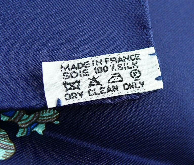 Hermes Vintage Silk Carre Scarf Grands Fonds by Annie Faivre 1992 For Sale 6