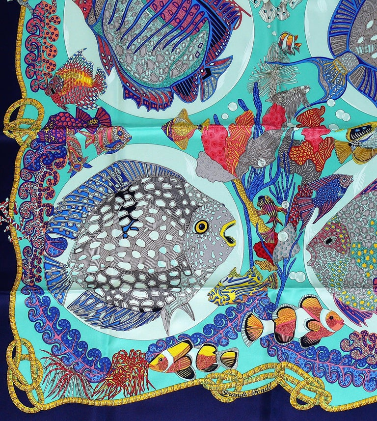 HERMES vintage 1992 hard to find silk carre scarf GRANDS FONDS featuring a gorgeous opulent and vibrant sea-life design.  Designed by ANNIE FAIVRE.  This scarf features : - Crispy silk. - Hand rolled borders. - Plump hems. - 100 % silk.  Marked ©
