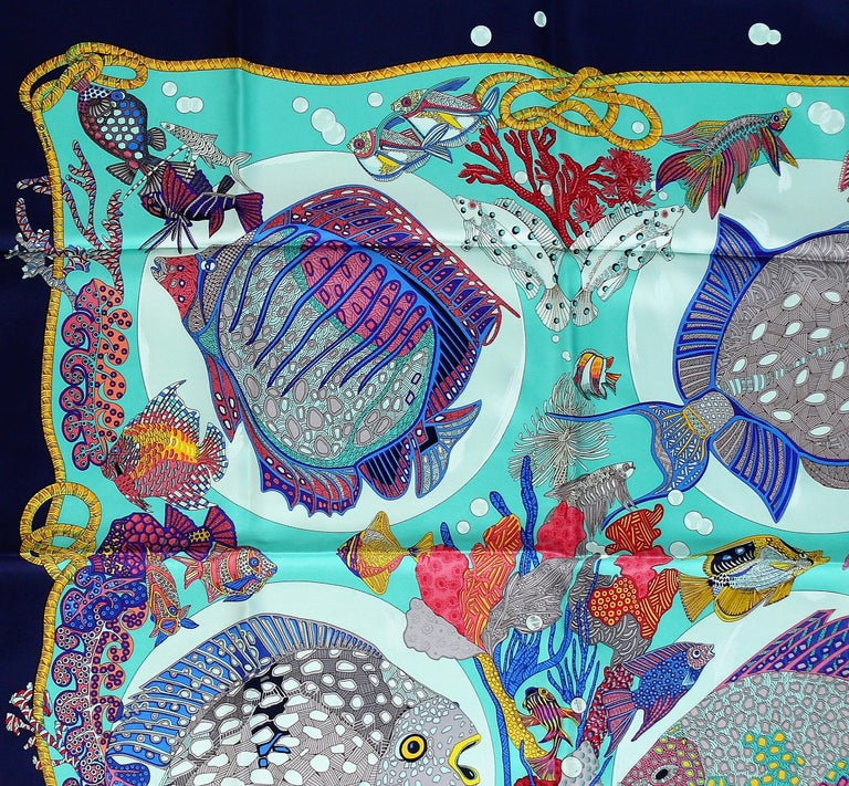 Hermes Vintage Silk Carre Scarf Grands Fonds by Annie Faivre 1992 For Sale 1