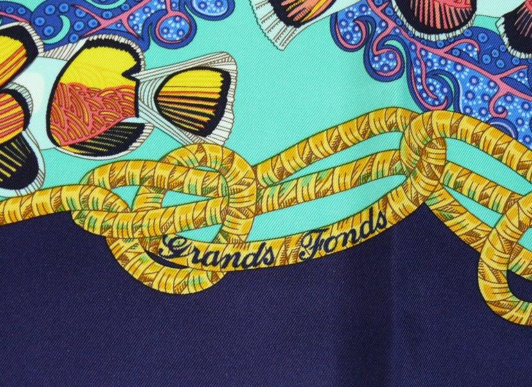 Hermes Vintage Silk Carre Scarf Grands Fonds by Annie Faivre 1992 For Sale 3