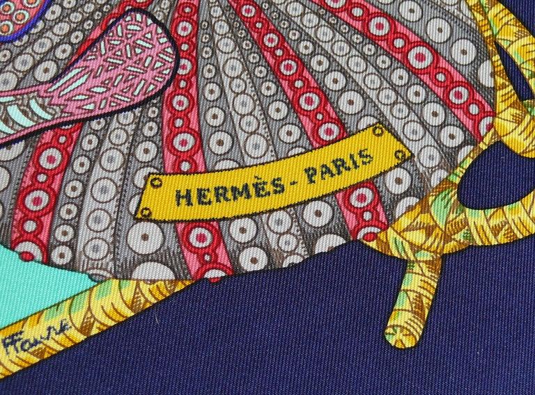 Hermes Vintage Silk Carre Scarf Grands Fonds by Annie Faivre 1992 For Sale 4