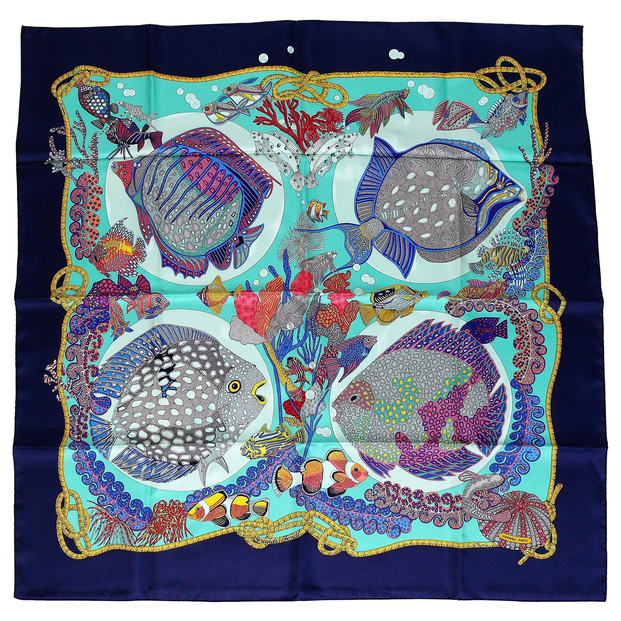 Hermes Vintage Silk Carre Scarf Grands Fonds by Annie Faivre 1992