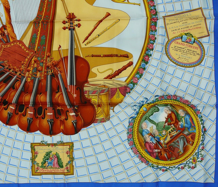 Hermes Vintage Silk Carre Scarf Hommage à Mozart by Julie Abadie In Good Condition In Nice, FR