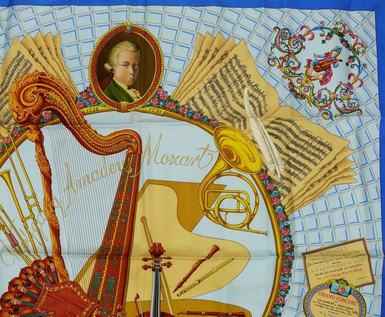 Women's Hermes Vintage Silk Carre Scarf Hommage à Mozart by Julie Abadie