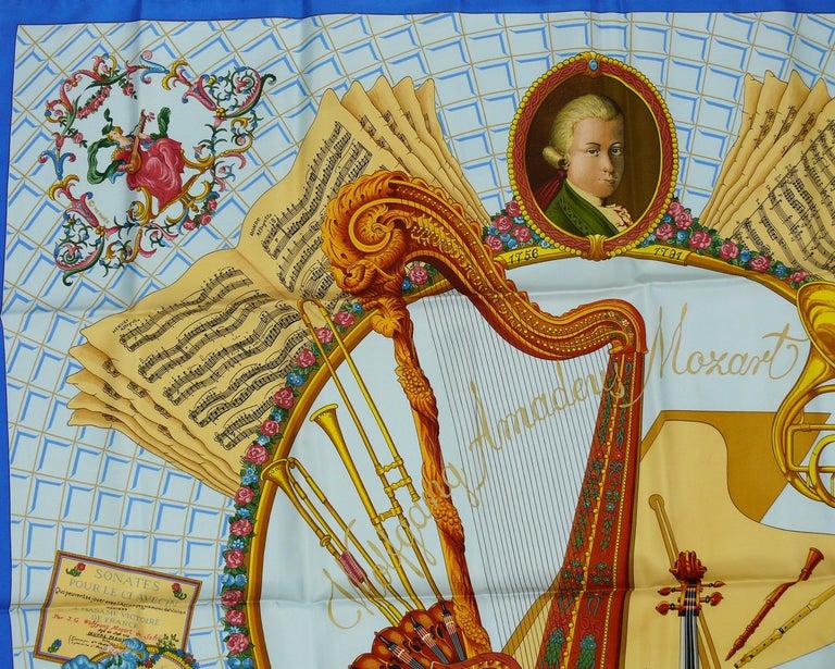 Hermes Vintage Silk Carre Scarf Hommage à Mozart by Julie Abadie 1