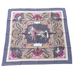 Hermès Vintage Silk Sarf Cheval Turc Vauzelles Lovely and Rare Colorways 90 cm