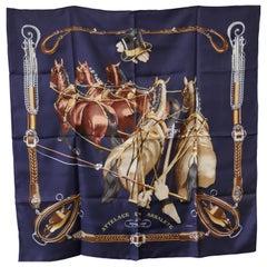 """Hermes Vintage Silk Scarf """"Attelage en Arbalete"""" by Philippe Ledoux,"""