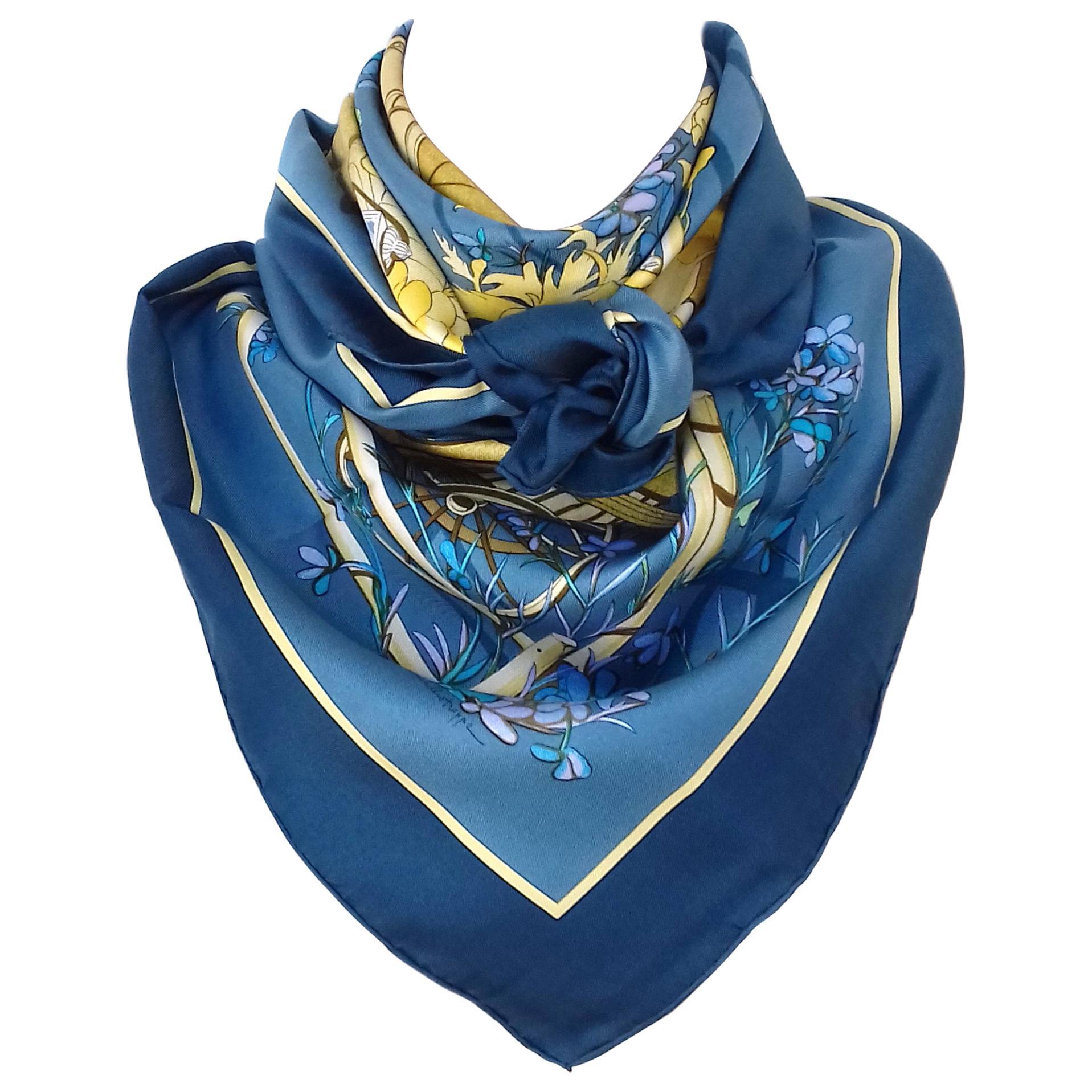 Hermès Vintage Silk Scarf Au Bois Dormant Blue Beige Stroppe 35 inches