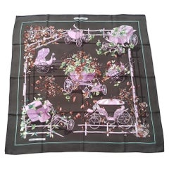 Hermès Vintage Silk Scarf Au Bois Dormant Green Pink Stroppe 35 inches