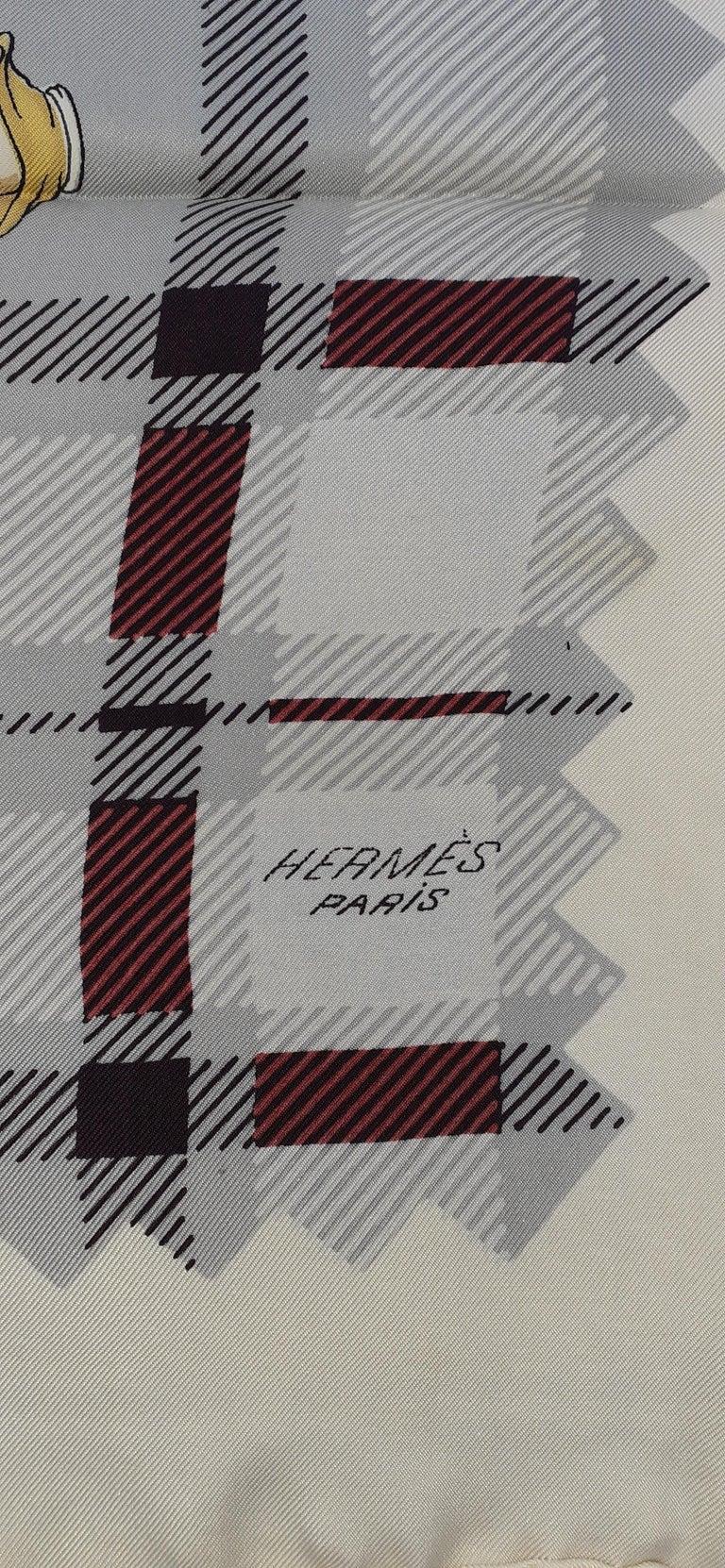 Gray Hermès Vintage Silk Scarf Bagpipe Cornemuse United Kingdom Grygkar 1951 RARE For Sale