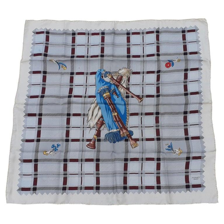 Hermès Vintage Silk Scarf Bagpipe Cornemuse United Kingdom Grygkar 1951 RARE For Sale