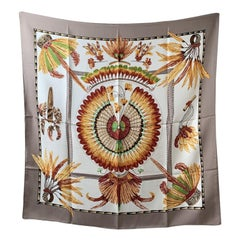 Hermes Vintage Silk Scarf Brazil 1988 Laurence Bourthoumieux Gray