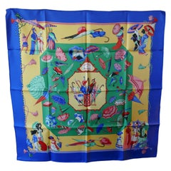 """HERMÈS Vintage Silk Scarf design by Hubert de Watrigant """"Ombrelles et Parapluies"""