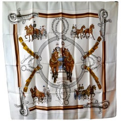 "Hermes Vintage Silk Scarf ""EQUIPAGES"" by Philippe Ledoux,"