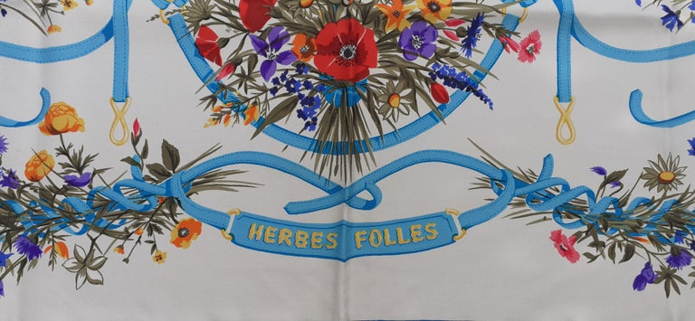 Gray Hermès Vintage Silk Scarf Herbes Folles Lise Coutin White Blue 35 inches For Sale