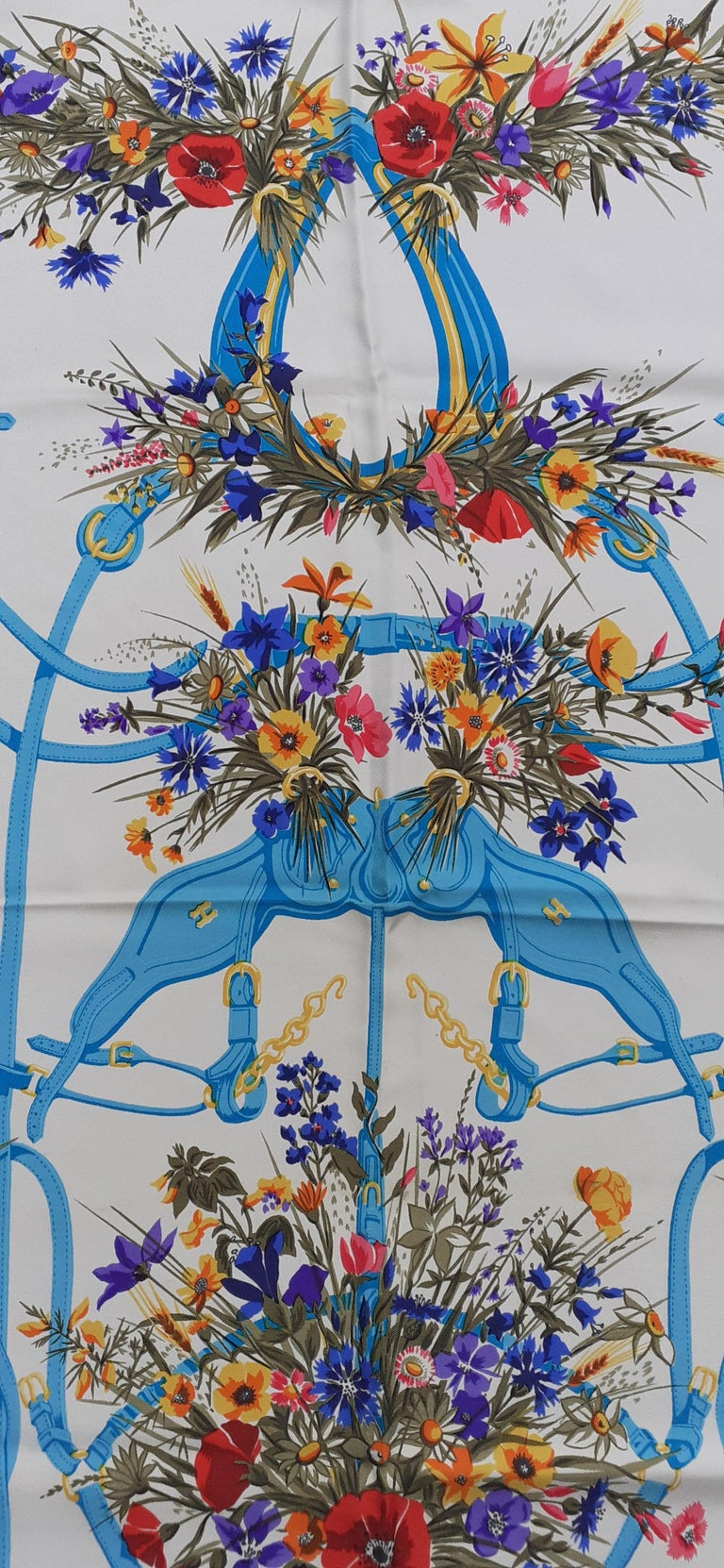Hermès Vintage Silk Scarf Herbes Folles Lise Coutin White Blue 35 inches For Sale 2