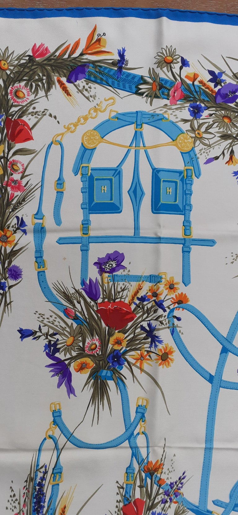 Hermès Vintage Silk Scarf Herbes Folles Lise Coutin White Blue 35 inches For Sale 3