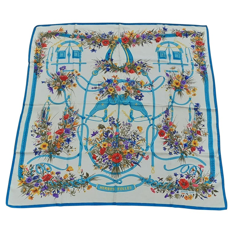Hermès Vintage Silk Scarf Herbes Folles Lise Coutin White Blue 35 inches For Sale