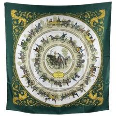 Hermes Vintage Silk Scarf La Promenade de Longchamps 1965 Ledoux