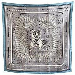 Hermes Vintage Silk Scarf Le Tigre Royal 1977 Vauzelles 56 cm