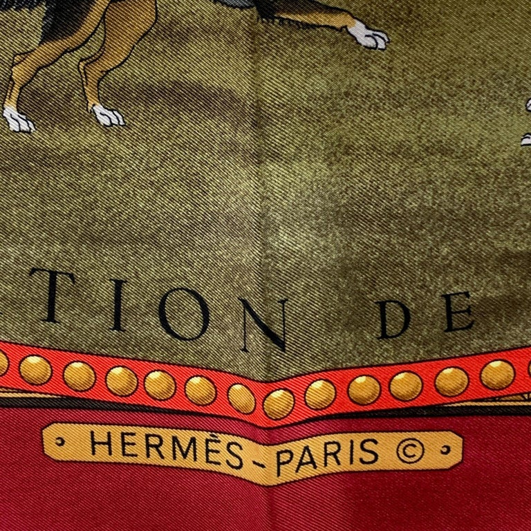 Hermes Vintage Silk Scarf Presentation de Chevaux 1970 Ledoux In Excellent Condition For Sale In Rome, Rome