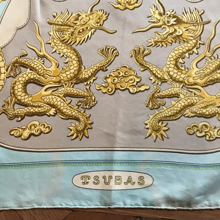 Gray Hermes Vintage Silk Scarf